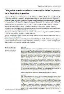 Categorización del estado de conservación de las Serpientes de la República Argentina