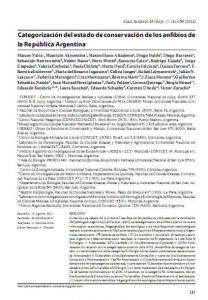 Categorización del estado de conservación de los anfibios de la República Argentina