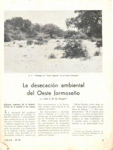 La desecación ambiental del oeste formoseño (De Gasperi, 1955)