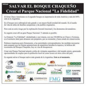 Nuevas ONGs se suman a nuestro pedido por el PN La Fidelidad
